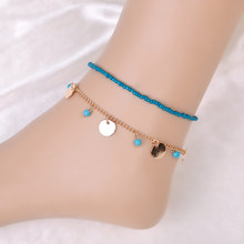 Summer Style Beach Feather Chains Charming Blue Beads Paillette Anklets Foot Ankle Jewelry Barefoot Sandals Anklet For women(China)