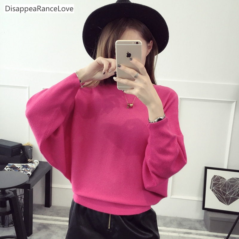 2017DRL Batwing loose sweater slash neck sweater female short design sweater pullover long-sleeve basic top outerwear