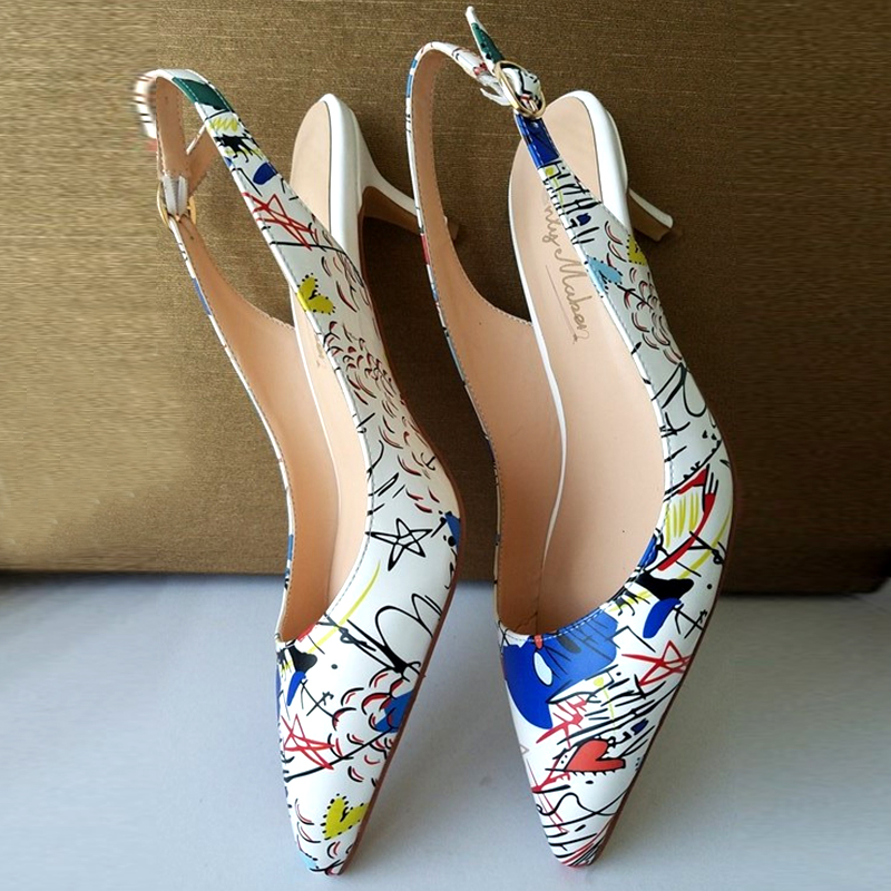 Women's Pointed Toe Slingback Sandals Ankle Strap Kitten Heels Pumps  Party Wedding Graffiti Shoes 6.5CM High heels us5-us15