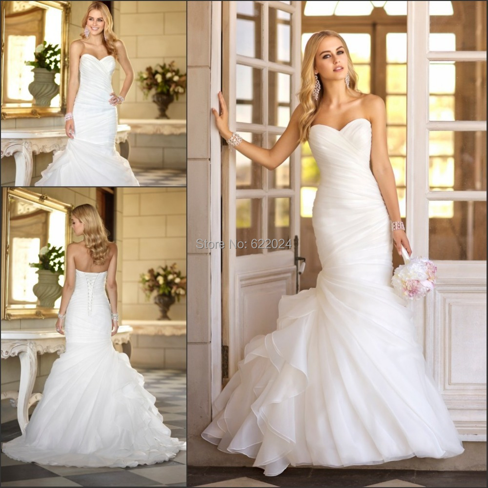 Online Shop 2015 Best Selling Sexy White Mermaid Wedding Gown Sweetheart Ruffles Sleeveless Lace Up Ivory Dress Custom Made HH442