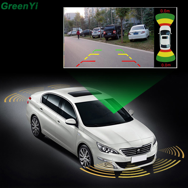 GreenYi Car Parking Sensors 8 Radars Video Parking System Alarm Speaker Parking Assistance Car Accessories Parktronic koorinwoo car parking sensors 8 redars video system auto parking system bibi alarm sound alarm parking assistance parktronic