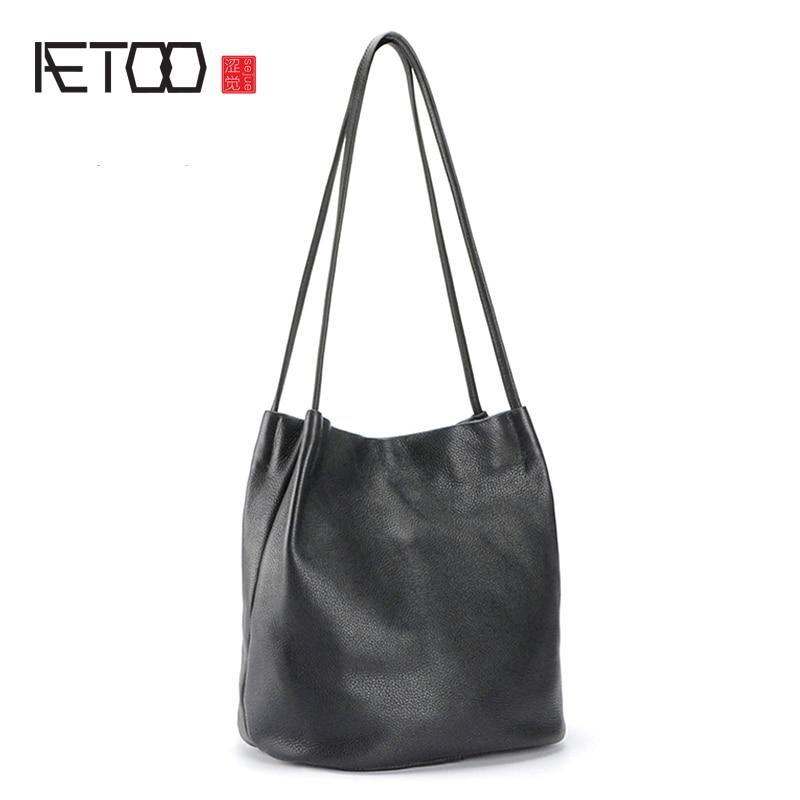 AETOO Head cowhide single shoulder tot bag handheld bag lady leather fashion large capacity shopping bag