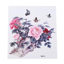 Розовые цветы бабочки наклейки-тату водонепроницаемые Женская тату прочный грудь обратно Sweatproof водонепроницаемые татуировки наклейки