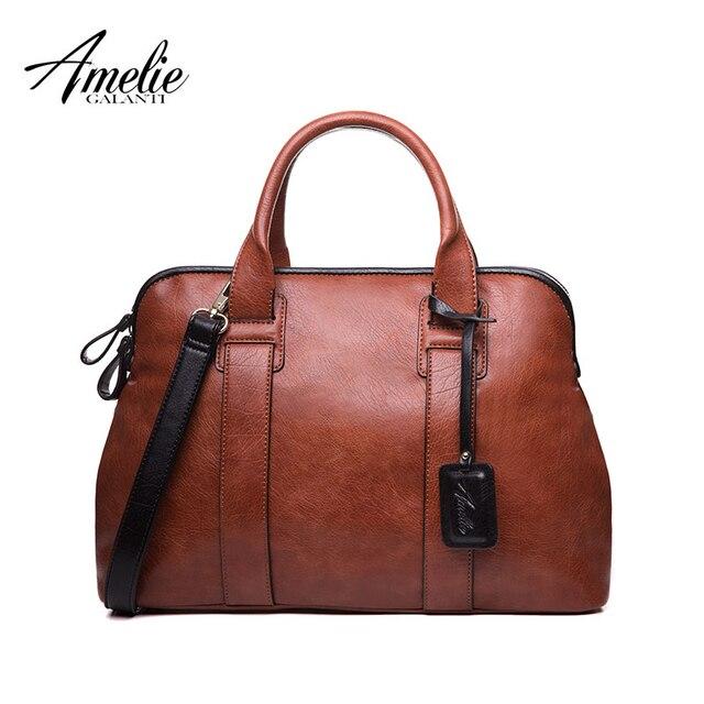 Amelie galanti женской моде тотализаторов сумки повседневная топ-ручка сумки высокое качество pu старинные твердый молнии мягкий универсальный карман
