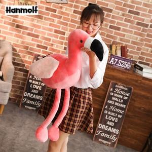 Image 1 - Różowe flamingi zwierząt wypchana lalka pluszowe Flamingo zabawki realistyczne dekoracyjne Flamingo pluszowe zabawki dla dzieci zwierząt prezent 60/90cm