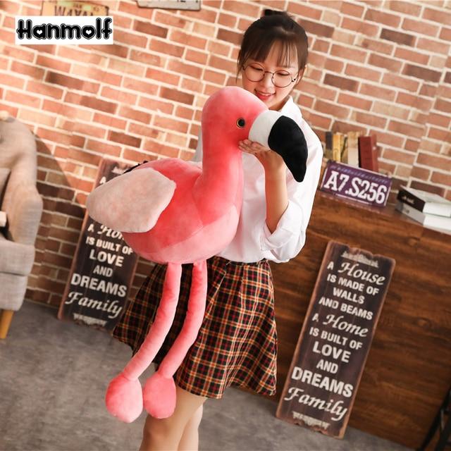 Różowe flamingi zwierząt wypchana lalka pluszowe Flamingo zabawki realistyczne dekoracyjne Flamingo pluszowe zabawki dla dzieci zwierząt prezent 60/90cm
