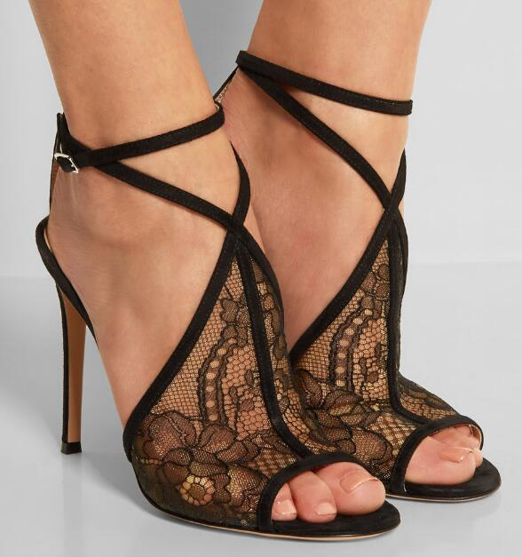 Sexy lady black lace high heel peep toe high heel sandal cross strap buckle black lace high heel sandals