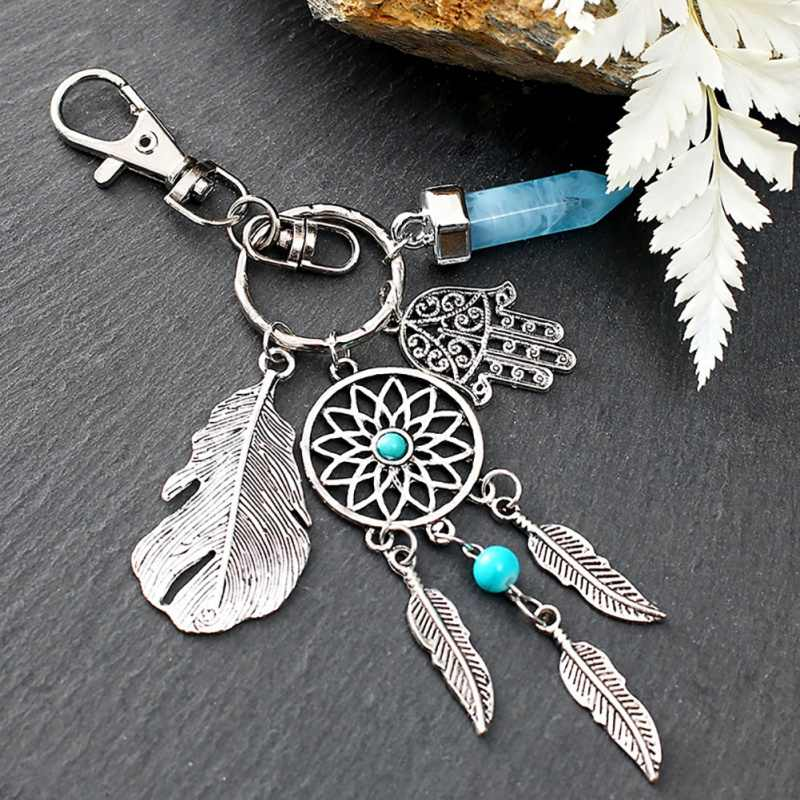 Small Handmade Feather Dream Catcher Keyring Keychain Decor Car Bag Hanging Decoration Pendant New Year Dreamcatcher Gift