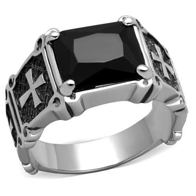 Classic Cross Men's Ring Stainless Steel With Square Black Stone Vintage Engagement Rings High Polished Gothic Style Bijoux