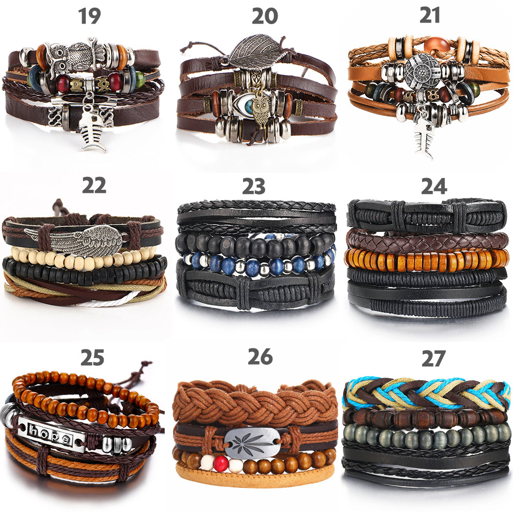 IF ME Vintage Leaf Feather Multilayer Leather Bracelet Men Fashion Braided Handmade Star Rope Wrap Bracelets & Bangles Male Gift 4