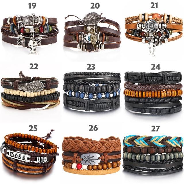 IF ME Vintage Leaf Feather Multilayer Leather Bracelet Men Fashion Braided Handmade Star Rope Wrap Bracelets & Bangles Male Gift 5