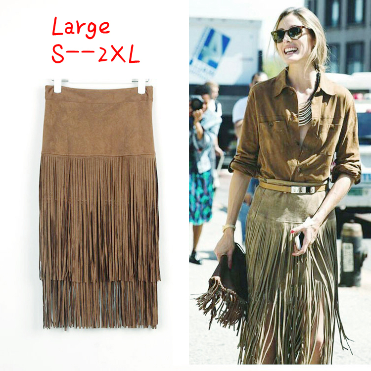 dac3b6ab2c87f plus size victoria saia suede fringe skirt tassels Straight midi Skirts  summer high quality Faldas jupe femme borla skirt-in Skirts from Women s  Clothing on ...