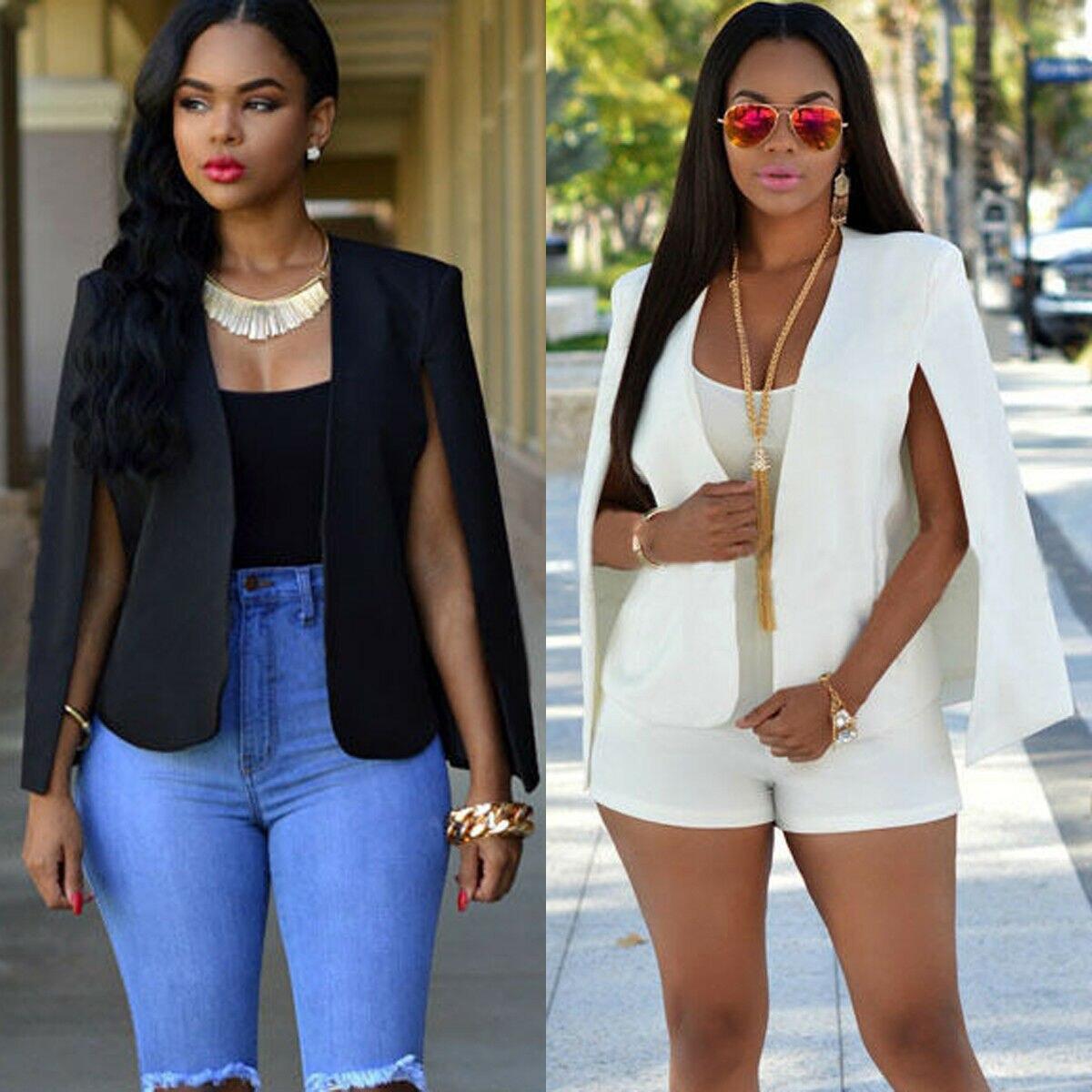 2020 NEW Sale Women Elegant Solid Open Front Cape Cloak Sleeve White Black Streetwear Modern Lady Outerwear Coat