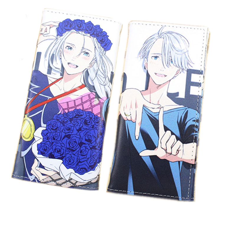 Anime Yuri On Ice Cosplay Unisex Long Wallet Victor Nikiforov PU Leather Purse Cartoon Card Holders Fashion Students Gifts japan anime death note wallet cosplay long leather pu zipper purse