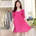 Lace/Chiffon Patchwork Maternity Casual Dress Summer Clothes for Pregnant Women Half Sleeve Clothing for Pregnancy Wear