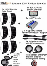 600W DIY Kits Solar System 6 x100W flexible solar panel 12V,1 x 30A solar controller, 1x 1000W inverter,full cable for universal