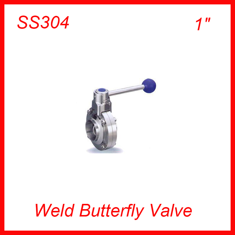 Hot  1 SS304 Sanitary Weld stainless steel TC manual butterfly valve  20pcs/lot NEW hot sale weld sampling valve dn19 sanitary sampling valve stainless steel valve