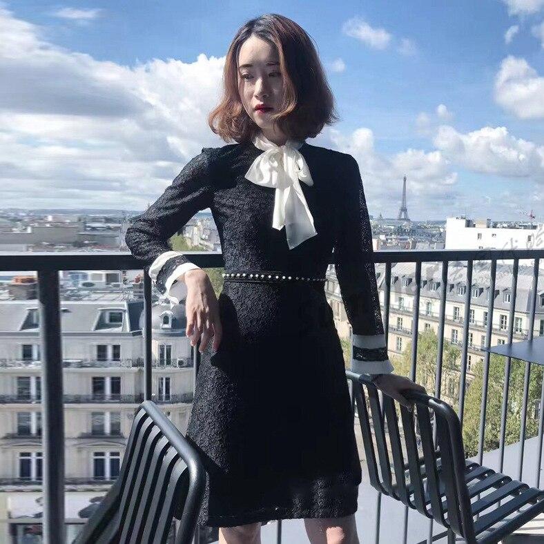 Nouvelle Automne Maison PapillonPerle Et Élégance Robe ÉléganceNoeud Noir 2018 MinceDentelle F0906 D'hiver S DWb2IYe9EH