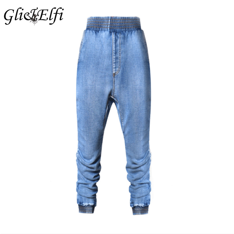 2017 Summer Cross Pants Women Fashion Baggy Jeans Women Denim Ladies Wide Leg Loose Plus Size Casual Elastic Waist Hip Hop Pants
