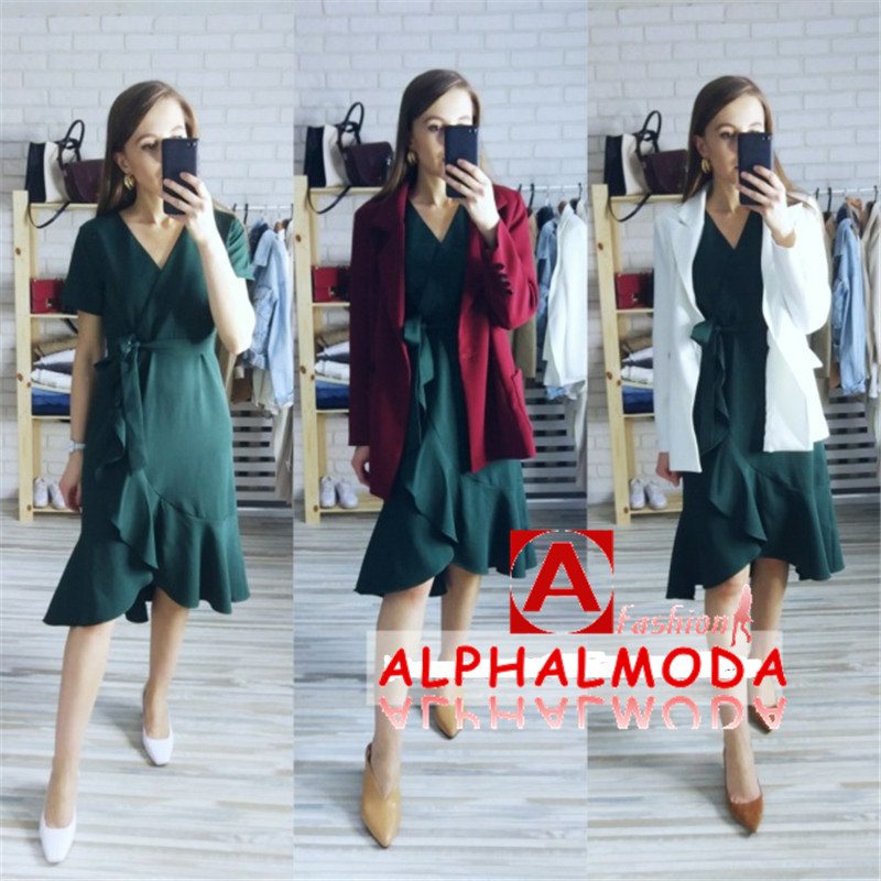 ALPHALMODA 19 Summer Ladies Ruffled Short-sleeved Wrap Dress V-neck High Waist Solid Graceful Women Sashes Vestidos 2