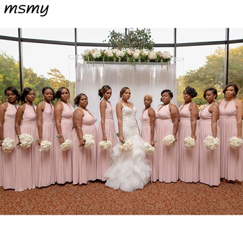 Chiffon Bridesmaids Dresses Pink For Western Weddings A Line Jewel Neck Sleeveless Pleats Long Maid of Honor Gowns