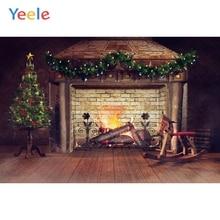 Yeele Christmas Fireplace Rocking horse Family Party Photography Backdrop Personalized Photographic Backgrounds For Photo Studio