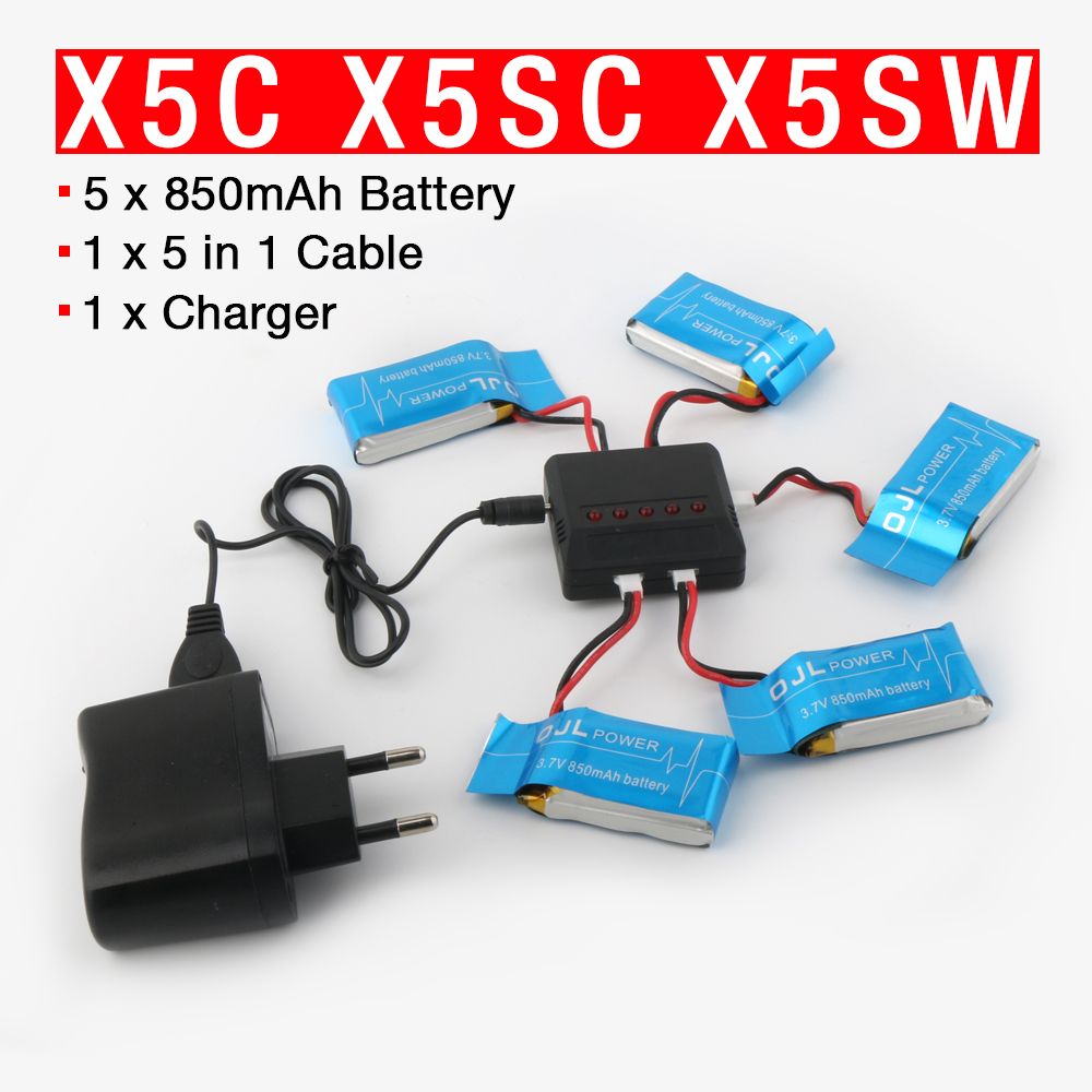 Syma X5SW X5SC X6SW RC Quadcopter Battery 3.7V 850mAh Lipo Battery Spare Parts with 5 in1 cable 3pcs battery and charger with 1 care 3 conversion cable for syma x8sw x8sc rc quadcopter accessories battery