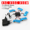 Syma x5c x5sw x5sc x6sw quadcopter rc bateria 3.7 v 850 mah bateria lipo peças de reposição com 5 in1 cabo