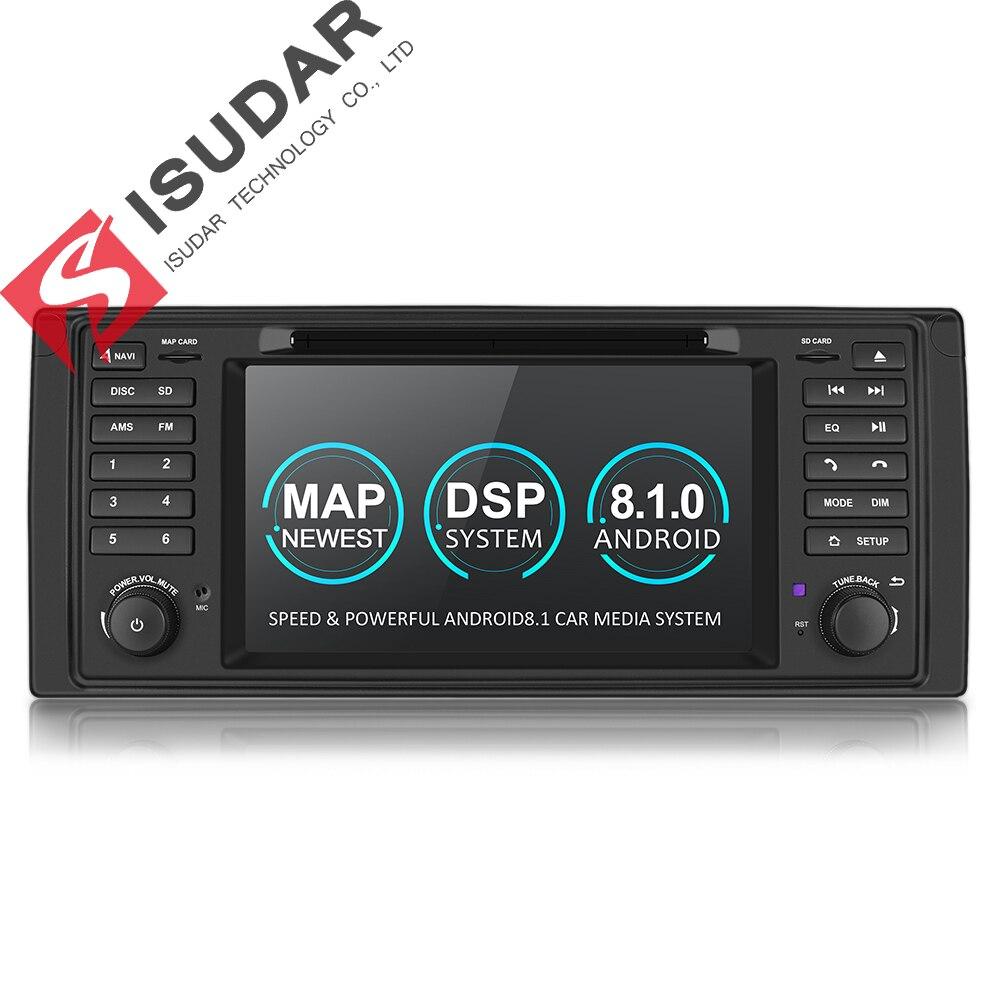 Système multimédia de voiture Isudar Android 8.1 1 Din Automotivo DVD pour BMW série 5/X5 E53 E39 GPS Radio FM Quad Core 2 + 16 GB USB DVR