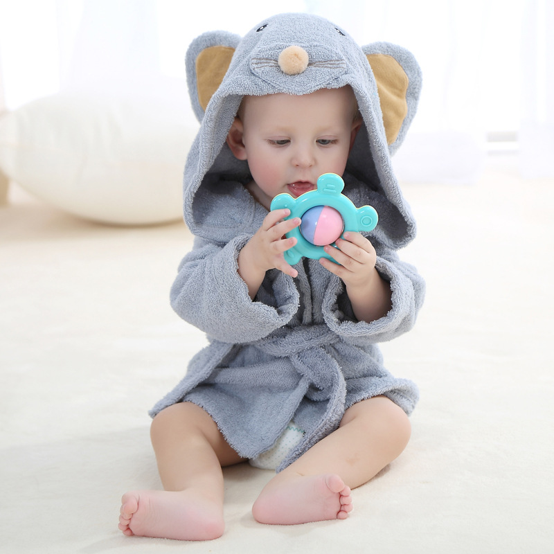 0-12M Cartoon Baby Bathrobes Bath Towel For Boys Girls Cotton Pajamas Sleepwear Rompers Badjas Baby Home MKBCSR001