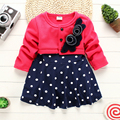 New Fashion Cotton 2016 Baby Girls Dresses Christmas Kids Clothes Dress Princess Flower Splicing Dots Fake two Children Dress