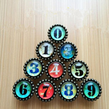 creative retro number knobs bronze glass Zero one two chree four five six seven eight nine can says drawer cabinet handles knobs