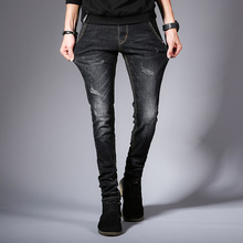 Jeans Men 2019 Clothes Spring Summer Distressed Ripped Slim Fit Casual Stretch Straight Black Plus Size