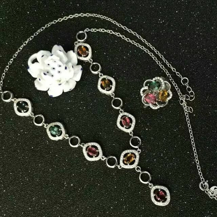 KJJEAXCMY boutique jewels 925 sterling silver inlaid with natural tourmaline calabash gem female pendant ring 2 sets chain to se