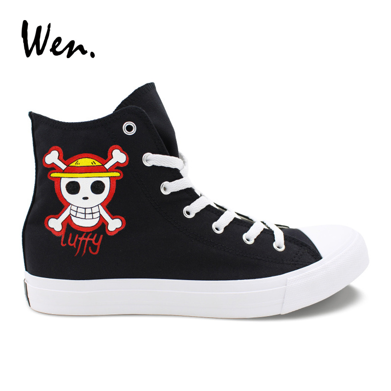 Wen Custom Shoes Hand Painted Jolly Roger One Piece Canvas Sneakers Black High Ankle Plimsolls Cross Straps Espadrilles Flats