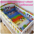 Promoción! 6 unids Mickey Mouse del bebé juegos de cama 100% algodón ropa de cama de bebé cuna de dibujos animados juego de cama ( bumper + hoja + almohada cubre )