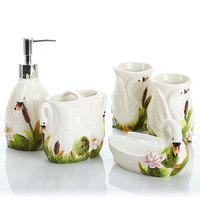 Bathroom household goods ceramic bathroom sanitary ware set bathroom five piece shore swan toiletries LO861115