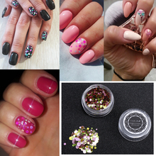 full beauty nail sequins colorful heart cross shape nail art flakes 3d shiny paillettes glitter design diy decoration tips chfl LULAA Manicure DIY Accessories 1 Box Shiny Round Ultrathin Sequins Colorful Nail Art Glitter Tips UV Gel 3D Nail Decoration