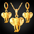 U7 African Elephant Earrings Pendent Necklace Sets Yellow Gold Plated Cute Animal Wholesale Africa Jewelry Sets For Women S178