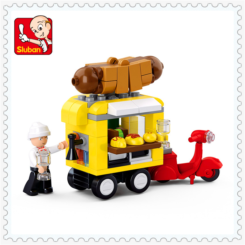 SLUBAN M38-B0565 Urban Series Hot Dog Vans Building Block 112Pcs DIY Educational  Toys For Children Compatible Legoe 0367 sluban 678pcs city series international airport model building blocks enlighten figure toys for children compatible legoe
