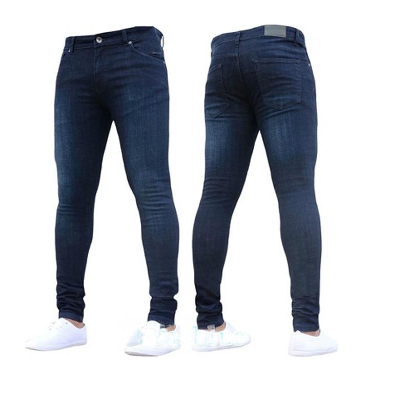 0946d871ca Aliexpress.com  Comprar Pantalones vaqueros ajustados negros informales de  marca 2018 para hombre Pantalones vaqueros ajustados pantalones vaqueros ...