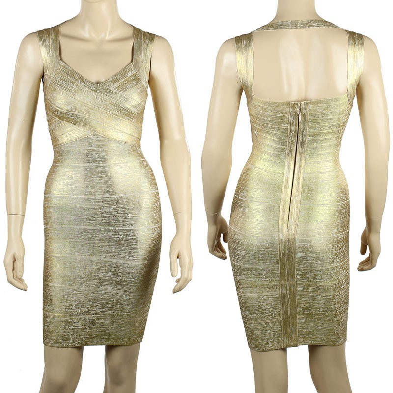 2017 new Metallic Gold/Sliver Shoulder Halter Open Back sexy Bandage Dress High Quality Host Dress