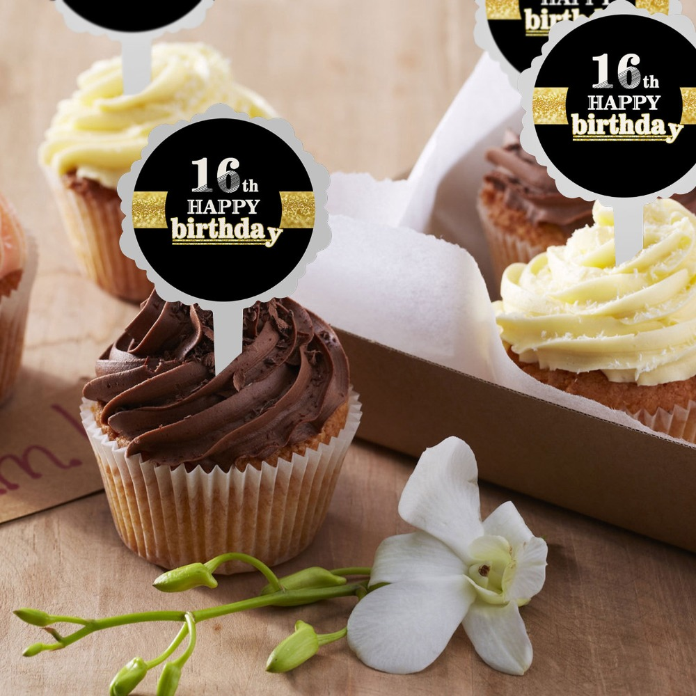 Pleasing 6Pcs Black Gold Happy Birthday Cake Topper 18 21 30 40 50 60 Years Funny Birthday Cards Online Elaedamsfinfo