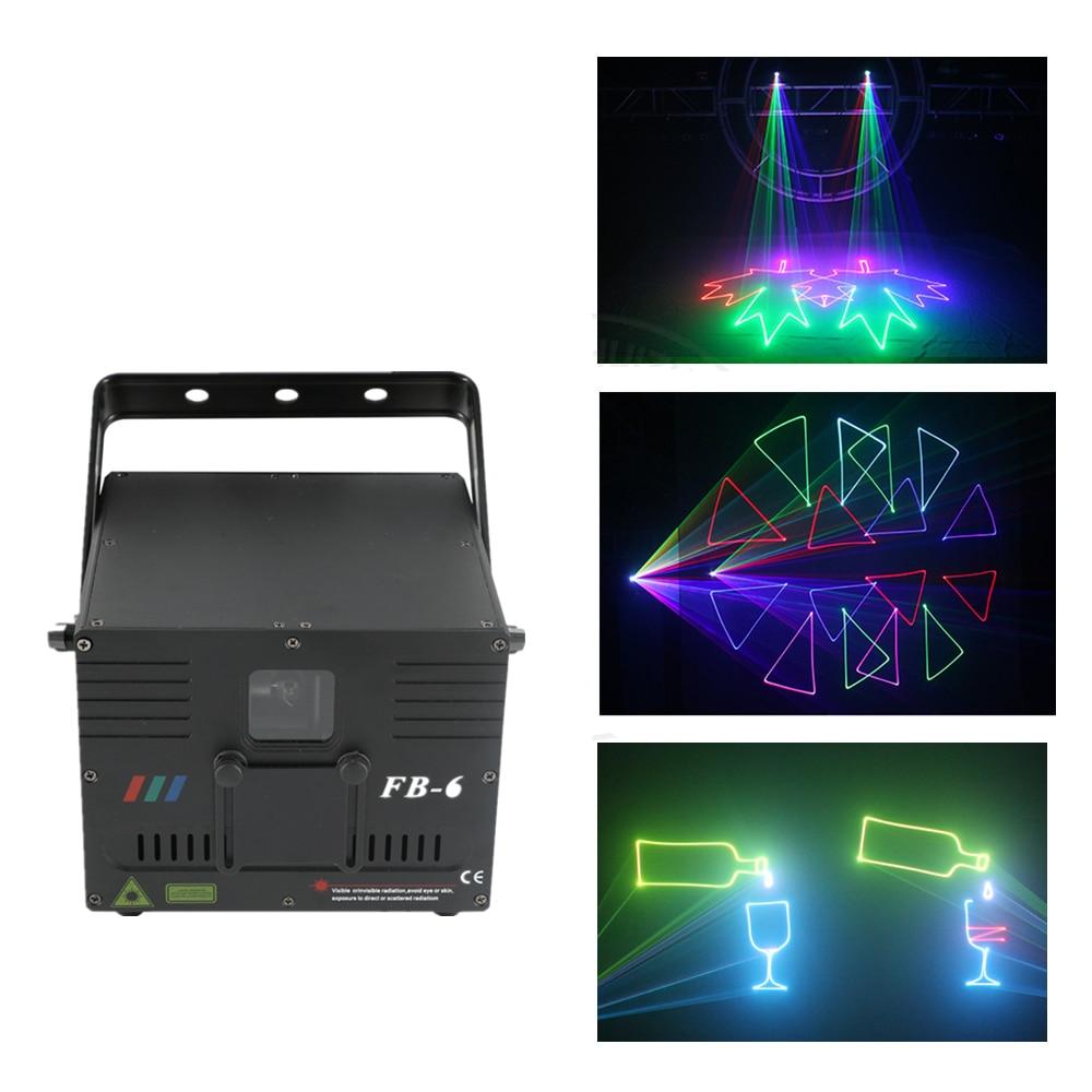 AUCD 1W DMX ILDA RGB Animation Beam Laser Projector Light DJ Party Nightclub Professional KTV Wedding Stage Lighting FB-6 aucd fulcolor animation 12ch dmx512 ilda