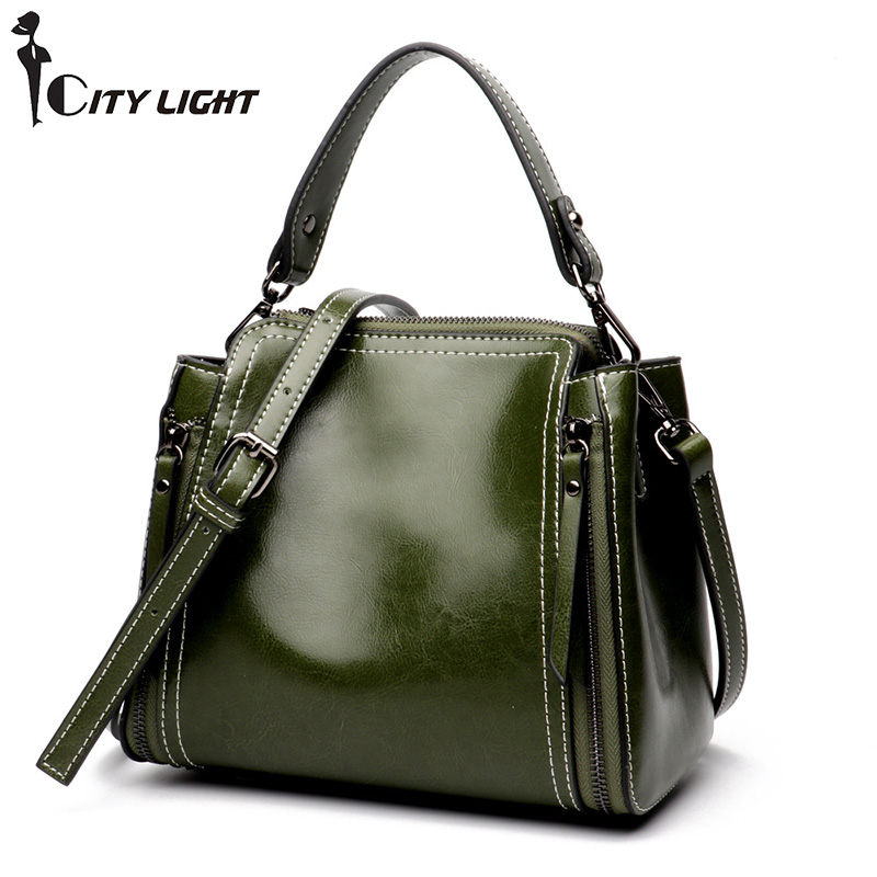 Vintagel handbag genuine leather bags for women shoulder messenger bags double zipper high quality ladies small