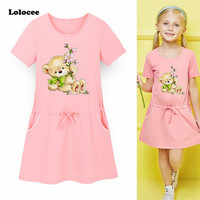 Baby Girl Dress Girls Little Bear Print Dresses Children Kids Clothes Cotton Clothing Casual New Fashion
