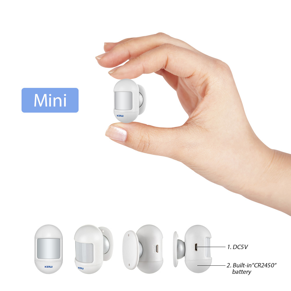 KERUI PIR Mini Sensor de Movimento Sem Fio de Alarme Detector de Bateria Interna Com base giratória magnética Para Sistema de Alarme Home
