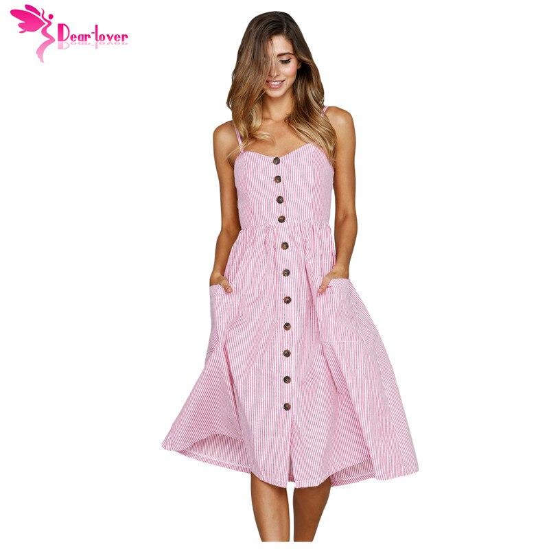 eba8e48fc8e9 Dear Lover Long Sundress Sexxy Casual Spaghetti Strap Blue White Striped  Button Down Mid Calf Dress Boho Vestido Female LC610030-in Dresses from  Women's ...