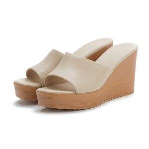 Image 4 - Morazora 2020 最高品質の本革サンダルの女性のファッションウェッジプラットフォームサンダルサマーパーティーウエディング靴女性のスリッパ