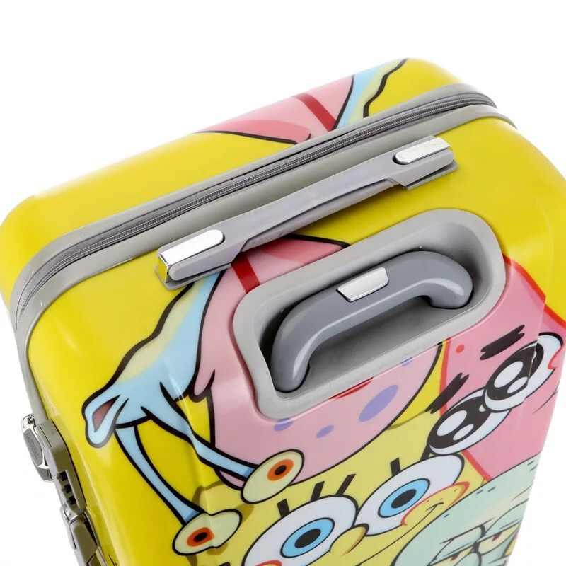 20 дюймов, 24 дюйма, чемодан для путешествий из поликарбоната с изображением Губки Боба, чемодан на колесиках, сумка на колесиках, женская сумка на колесиках, милый Дорожный чемодан